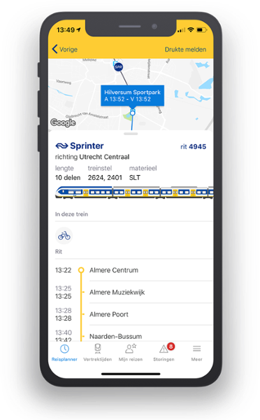 Screenshot of NS Extra App for Apple and Android